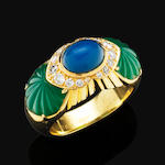 A chalcedony, diamond and chrysoprase ring,  by Cartier,