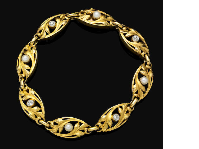 An Art Nouveau gold, pearl and diamond bracelet,