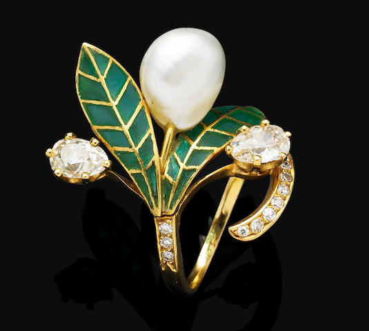 An Art Nouveau natural pearl, enamel and diamond ring,