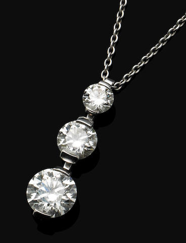 A 'Forever Two' diamond pendent necklace, by De Beers