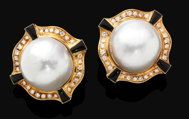 A pair of cultured pearl, enamel and diamond earrings