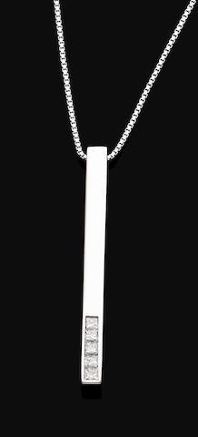 A diamond-set pendant necklace, by Gucci