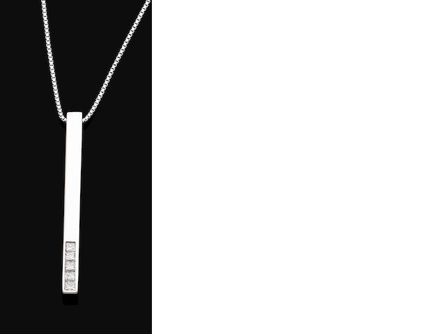 A diamond-set pendant necklace, by Gucci