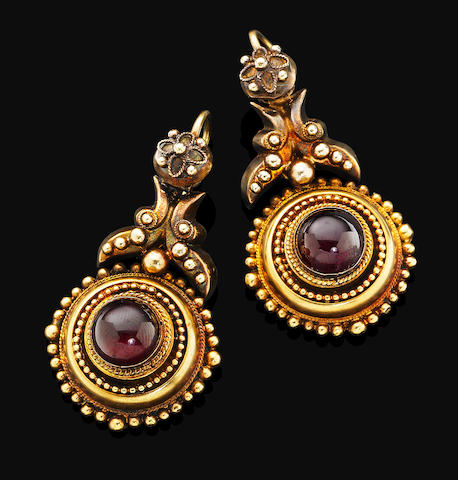 A pair of antique garnet pendent earrings,