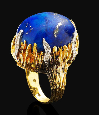 A lapis lazuli and diamond-set cocktail ring,