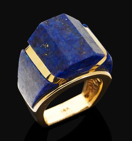 A lapis lazuli cocktail ring,