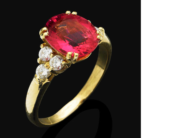 A tourmaline and diamond dress ring