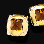 A pair of citrine 'Piramide' earrings, by Bulgari,
