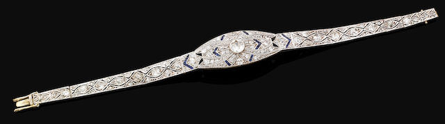 An Art Deco sapphire and diamond bracelet,