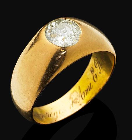An antique diamond single-stone ring,