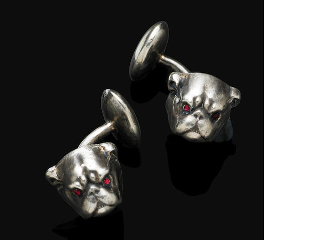 A pair of antique sterling silver cufflinks, by Unger Bros.,