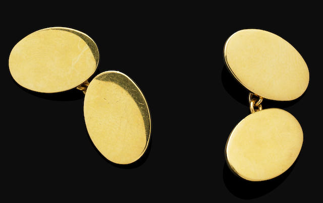 A pair of 18 carat yellow gold cufflinks