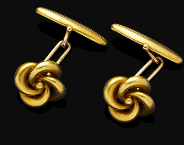 A pair of antique gold cufflinks,