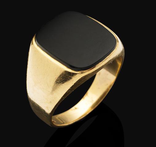 An onyx signet ring