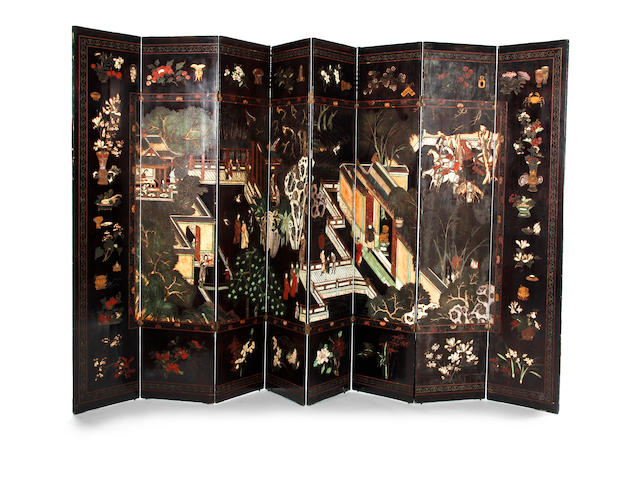 A very large Chinese eight-fold ebonised and polychrome bantam work screen  Early 20th Century