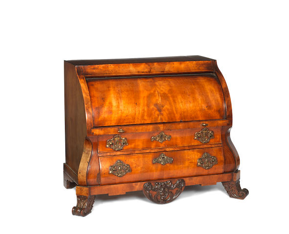 A late 18th/early 19thcentury Dutch mahogany miniature cylinder bureau