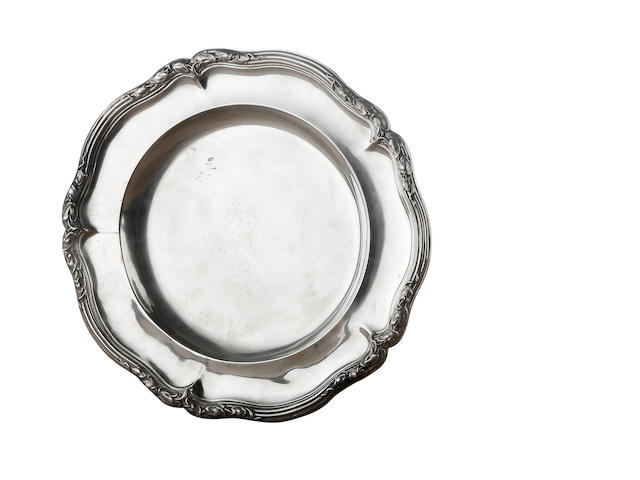 A Victorian silver shaped circular dinner plate  by Paul Storr, London 1838