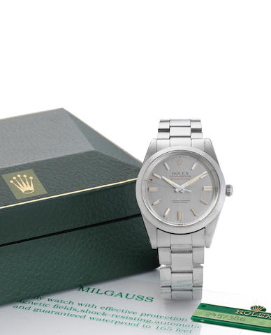 Rolex. A fine and rare stainless steel centre seconds bracelet watch together with fitted box, punched certificate, original receipt and swing tag Milgauss, Ref:1019, Serial No.245****, Sold in Oman 22nd March 1975