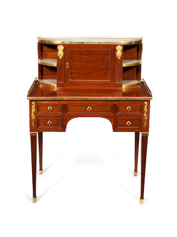 A mahogany bonhueru du jour stamped Ohneberg (Sothebys London, 6 December 2011 - lot 88)