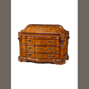 A North Italian 18th century fruitwood, walnut an burr-walnut bombé bureau
