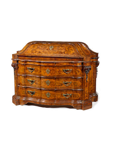 A North Italian 18th century fruitwood, walnut and burr-walnut bombé bureau