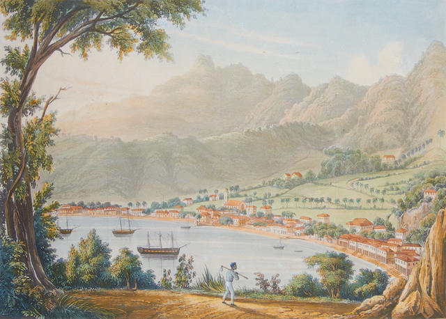 After Lieut Caddy Hand coloured aquatint of Kingston, St Vincents from Cane Garden Point by J. Harris, 20.5 x 29cm (8 x 11 3/8in)(PL).  Together with a hand coloured engraving after Charles Forrest depicting a view of St Lucia and a hand coloured lithograph after H.F. Chechley depicting Kingston Harbour. (3)