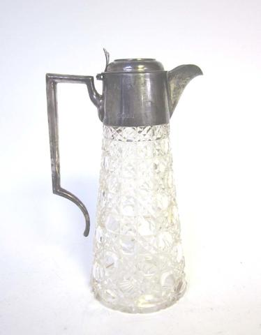A silver mounted and cut glass claret jug by William Hutton & Sons Ltd, Birmingham 1904; together with a salver, christening jug, cigarette case and a pair of fish servers  (6)