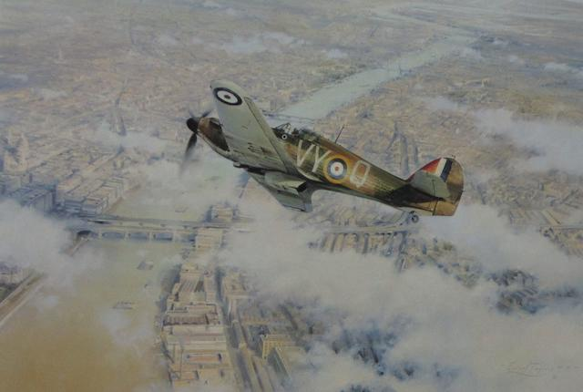 Three prints depicting Hawker Hurricane fighter aircraft,