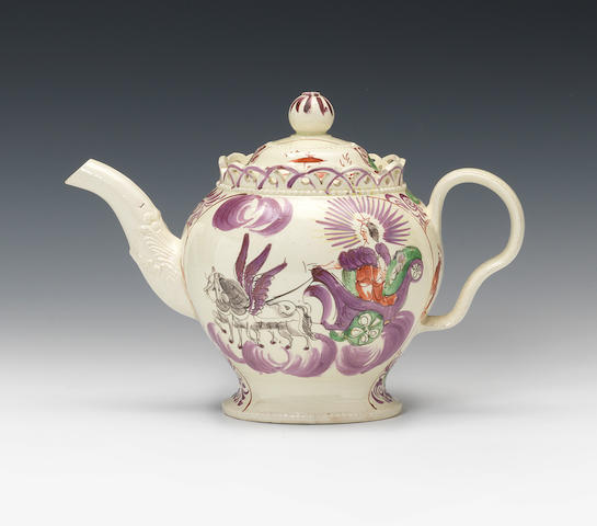A William Greatbatch creamware teapot and cover, circa 1770-82