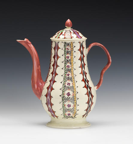 A baluster coffee pot and matching cover
