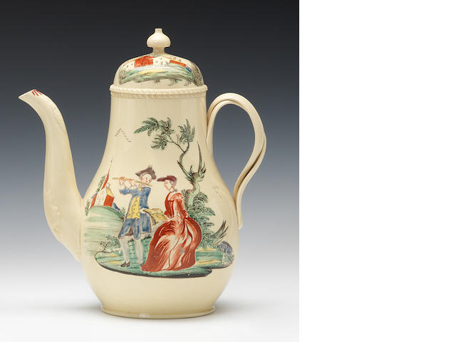A creamware coffee pot and cover, circa 1775