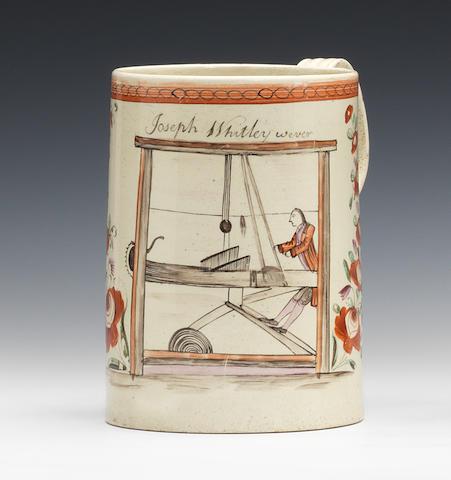 A good creamware cylindrical mug, circa 1780