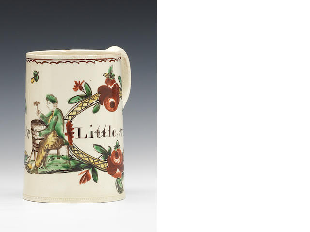 A good creamware mug, dated 1781