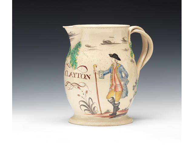 A fine creamware jug, circa 1765-75
