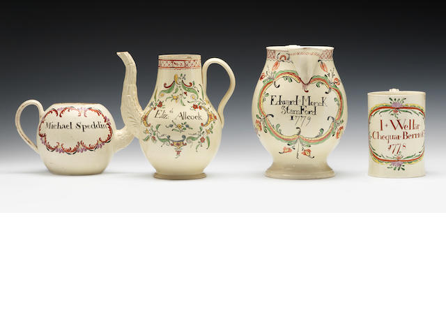 Four items of inscriber creamware, a coffee pot, a tea pot, a mug and a jug