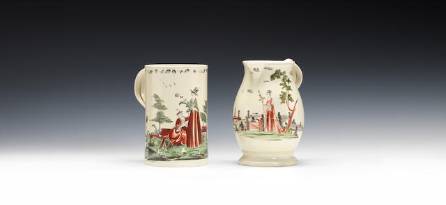 Enamelled mug and jug