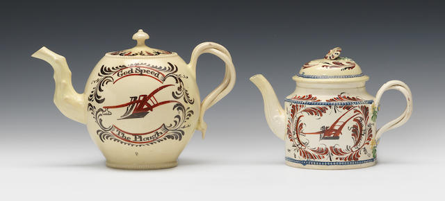 Two painted teapots and covers