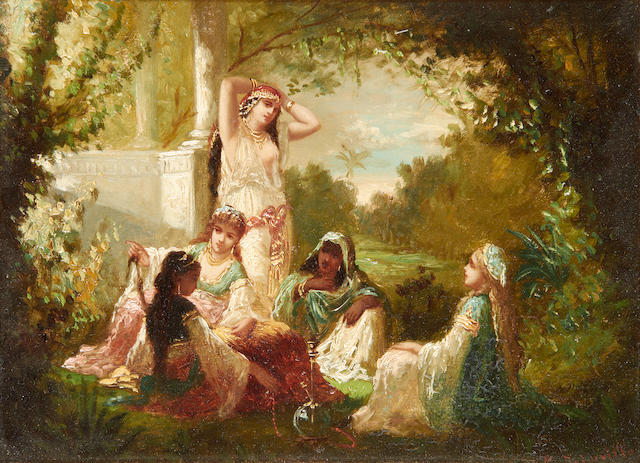 Antoine-Victor-Edmond Joinville (French, 1801-1849) Oriental beauties in a garden