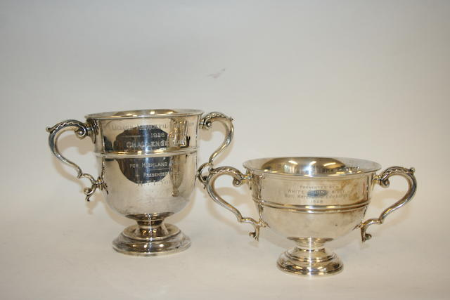 A two handled trophy cup, by Elkington & Co., Birmingham 1921,  (2)