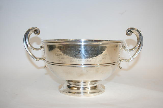 A silver two handled trophy cup Birmingham 1918,
