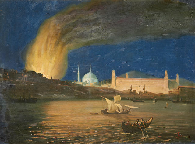 Continental School, 19th Century Constantinople on Fire (Under Attack)