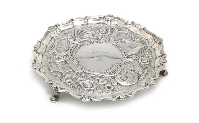 A George II silver  salver probably by John Robinson, London 1746; together with various other items  (55)