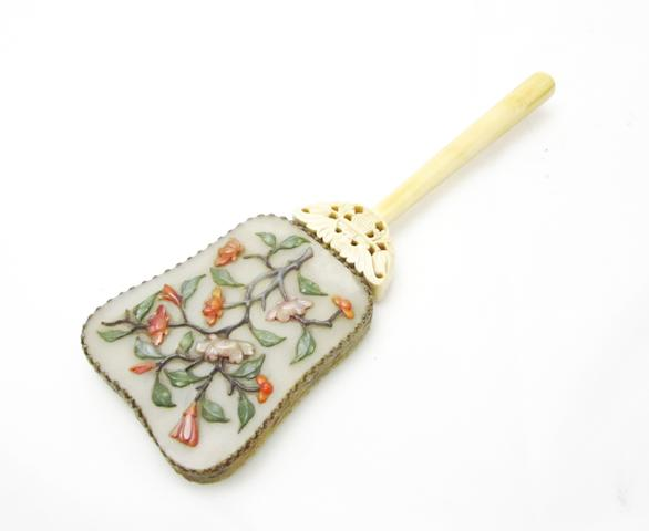 An ivory and hardstone mounted hand mirror 19th/20th century