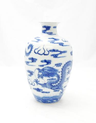 A blue and white vase Bearing a Qianlong seal mark but 19th century