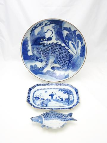 A collection of blue and white Mainly 18th and 19th centuries
