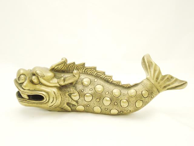 A polished bronze model of a dragon carp 19th century