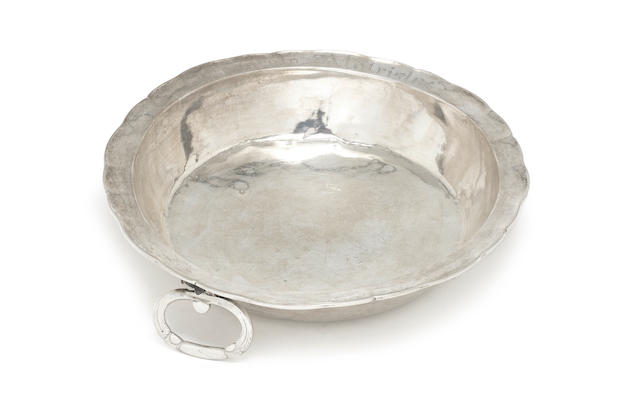 A South American unmarked silver two-handled dish possibly late 18th/early 19th century
