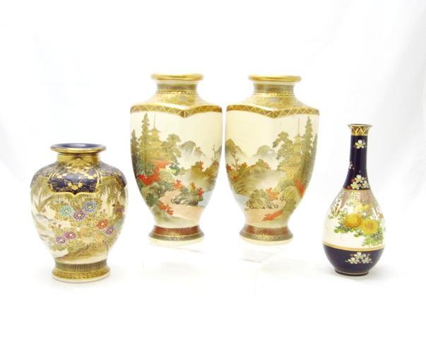 Four Satsuma vases 20th century