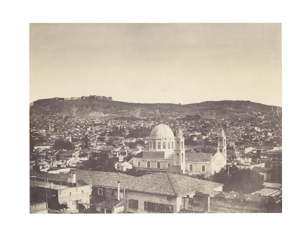TURKEY. RUBELLIN et Fils. A group of 5 images in Turkey, including three unidentified city view, a harbour and a cemetary, [c.1875] (5)