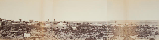 VIGNE (LOUIS) A three-part panorama of Tiberias, Sea of Galilee, [c.1860]